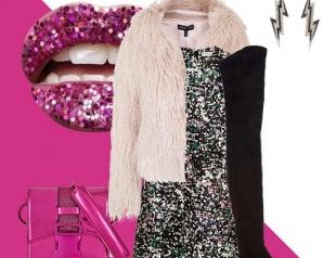 Как одеться на новогоднюю вечеринку: розовый и пайетки