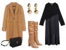 Бежевое пальто с сапогами оттенка camel