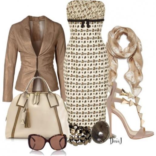 Платье футляр с открытым лифом, пиджак в тон, туфли на шпильке - элегантный образ для настоящей леди!