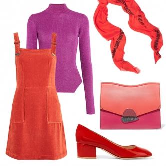 Как мы и говорили, тандем красного с фуксией - самое модное сочетание сезона. Выбирай ягодные оттенки и строй весь образ на контрасте, а обувь подбирай в тон юбки, платью или брюкам. Шикарно будут смотреться и колготки того же цвета. Дерзай!