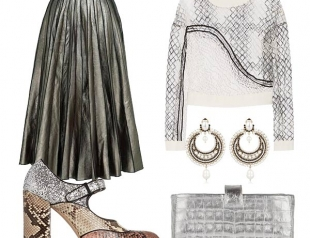 Плиссированная юбка цвета металлик