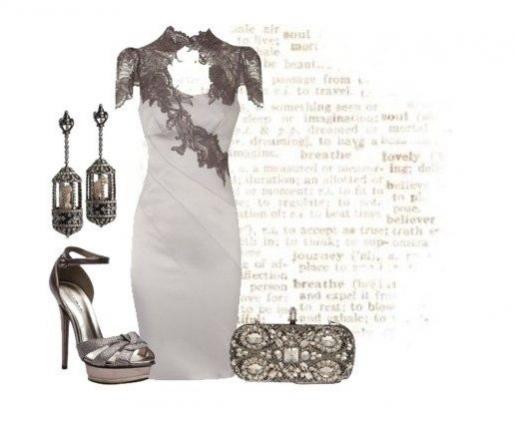 Кто сказал, что серый цвет скучный? Великолепное платье с кружевными вставками серого цвета, нарядный клатч и блестящие босоножки - для роскошного вечернего лука!