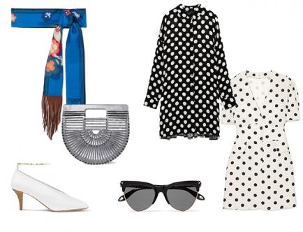 Вернемся к модному гороху — платье с принтом polkadot можно объединить с шейным платком. А чтобы завершить образ романтичной парижанки, — обуй туфли на невысоком каблуке.