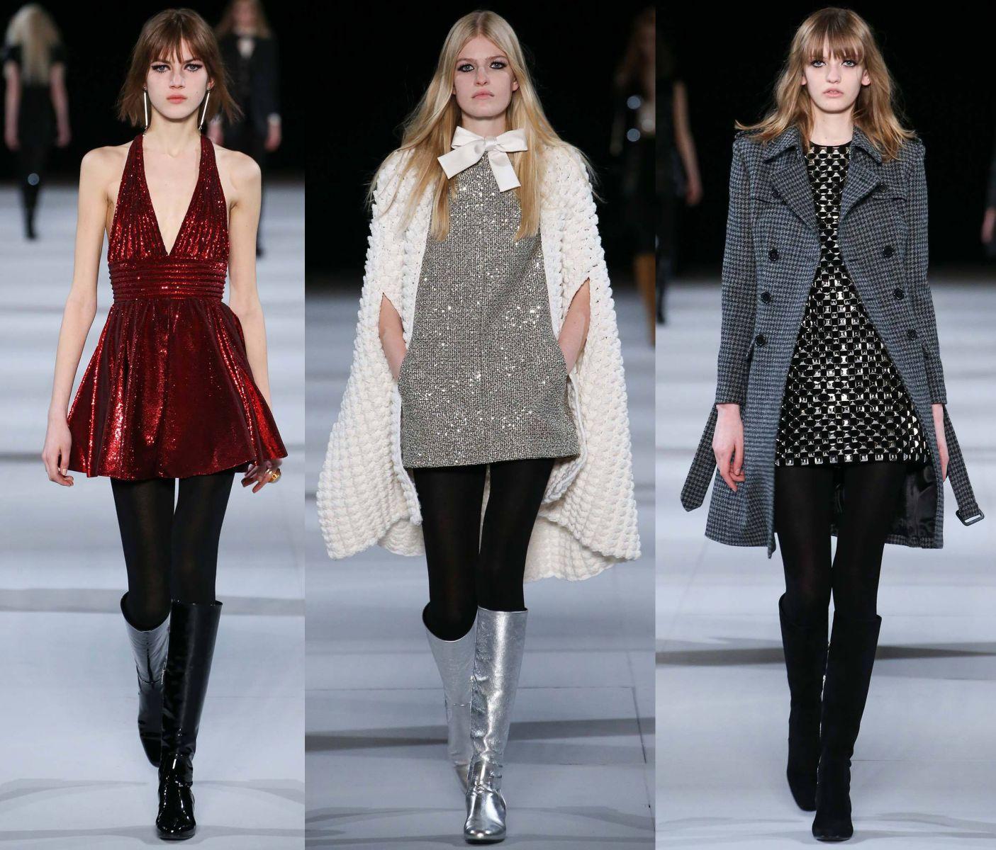 Блестящие мини-платья Saint Laurent - фото №1
