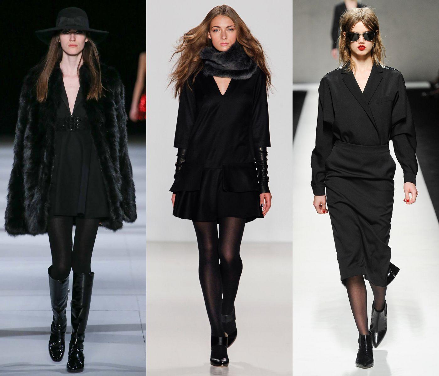 С каким платьем носить черные колготки - фото №1