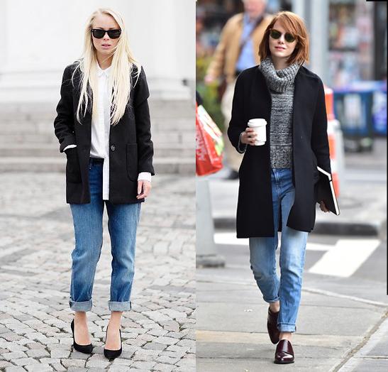 Черное пальто + винтажные джинсы: чей образ лучше - фото №1