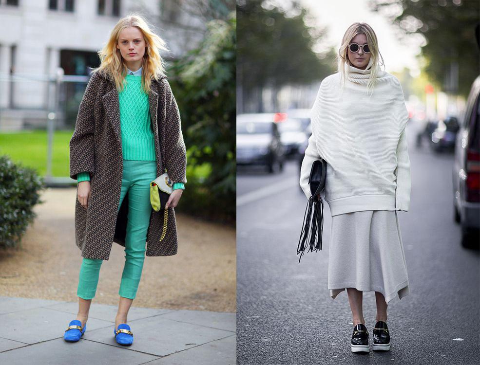 С чем носить вязаный свитер: 30 образов street style - фото №1