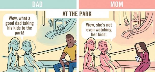 Вы такой милый отец, ну а вы ужасная мать: комиксы продемонстрировали, как по-разному воспринимают родителей разных полов - фото №2