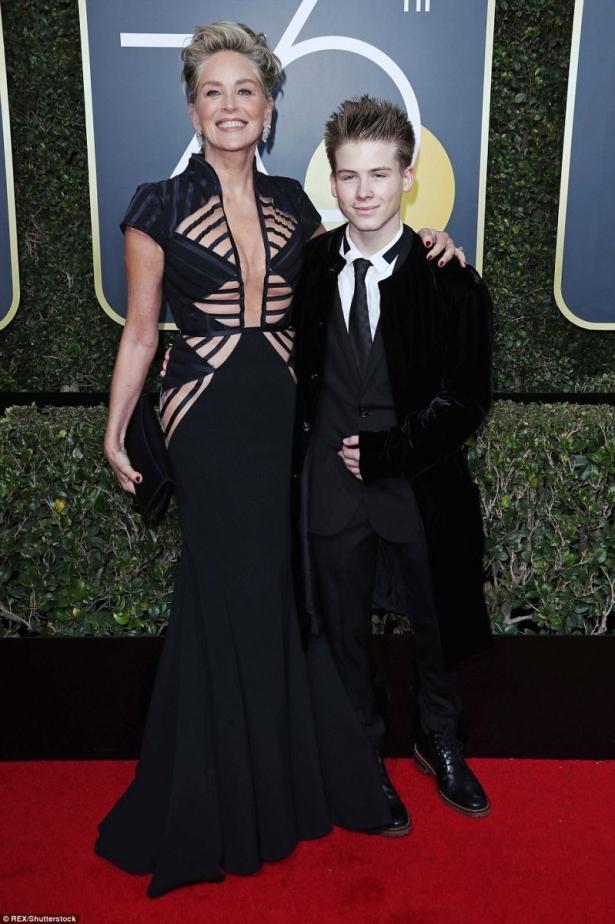 Шерон Стоун с сыном на церемонии Золотой Глобус