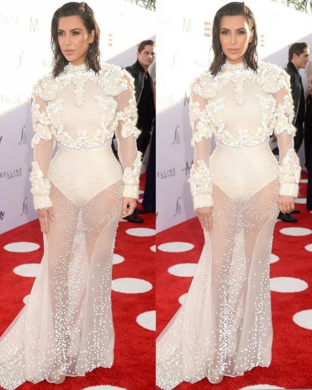 ким кардашьян в белом платье