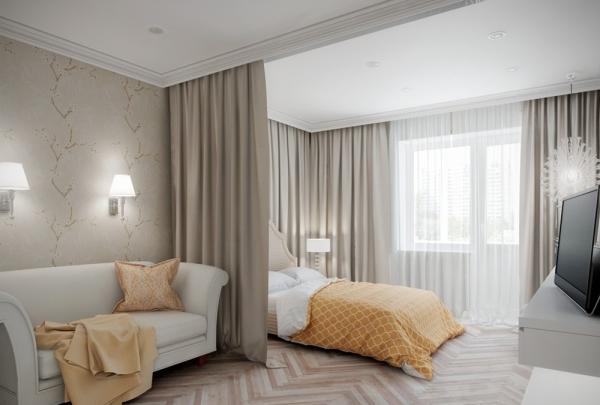 дизайн спальни и гостиной в одной комнате фото