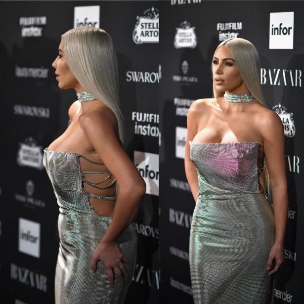 ким кардашьян в серебряном платье