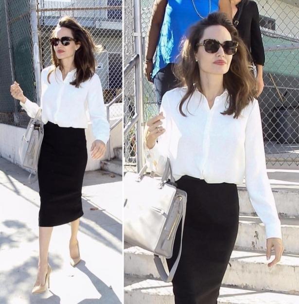 Джоли в сексуальном наряде учительницы