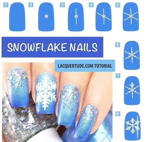 как нарисовать снежинку на ногтях фото