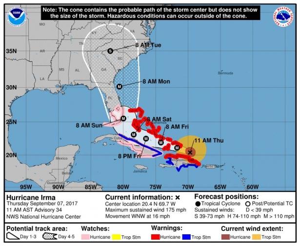 ураган ирма на карте