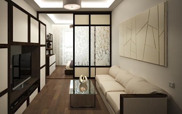 дизайн спальни и гостиной в одной комнате 2016