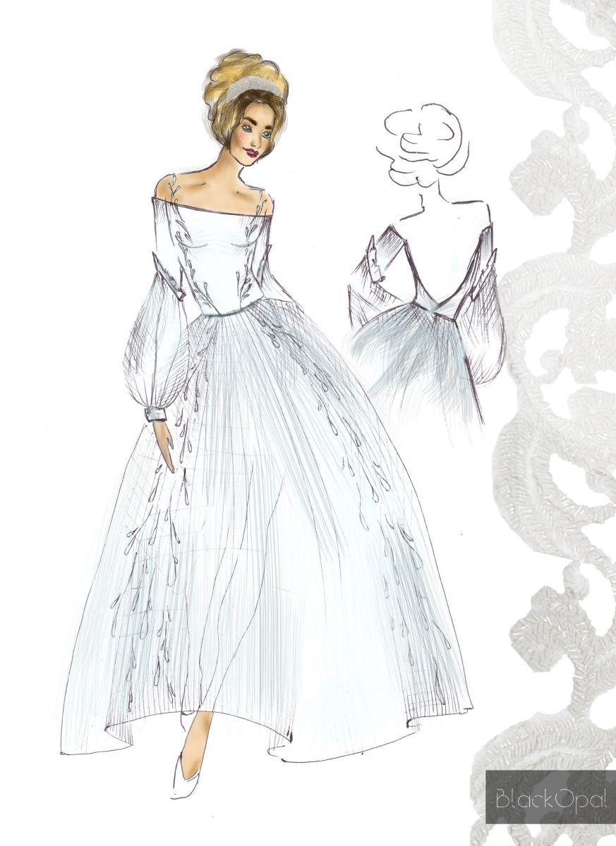 Свадебное платье для Регины Тодоренко. Спецпроект (эскизы+комментарии стилиста) - фото №21