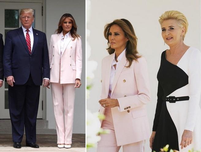 Мелания Трамп в костюме пудрового цвета принимает комплименты (ГОЛОСОВ