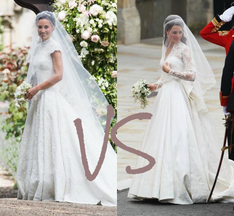 свадебное платье Пиппы Миддлтон против свадебного платья Кейт Миддлтон