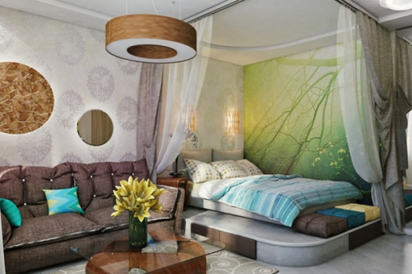 дизайн гостиной совмещенной со спальней 2016