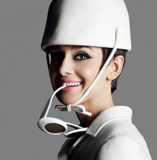 Модные солнцезащитные очки 2016 в белой оправе Одри Хепберн в белых очках