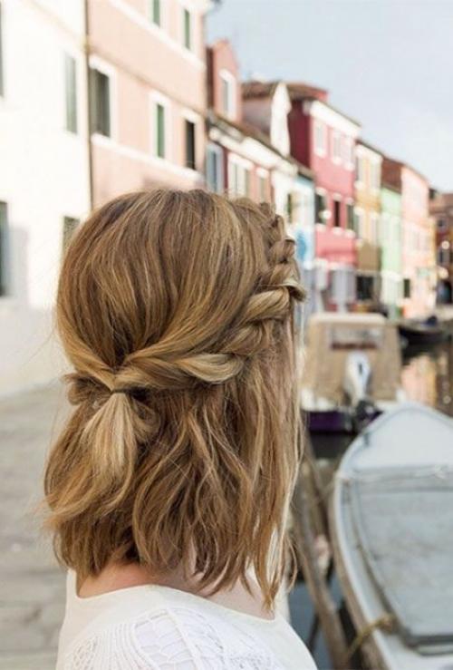 плетение на короткие волосы