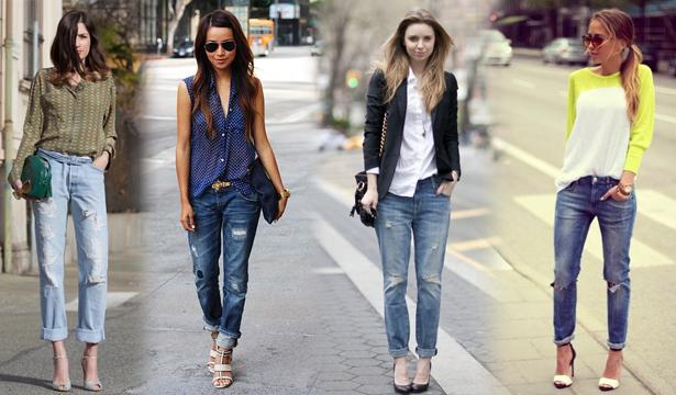 Как и с чем носить джинсы-бойфренды - фото №1