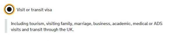 Категории британских виз