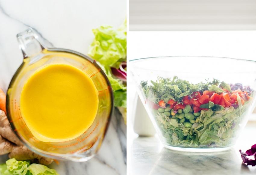 Рецепт яркого салата с морковно – имбирным дрессингом