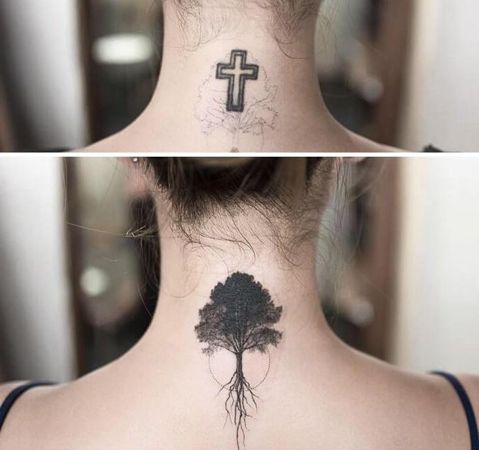 татуировка крест, татуировка в виде дерева