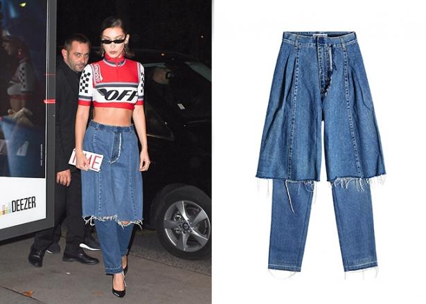 белла хадид в джинсах украинского дизайнера
