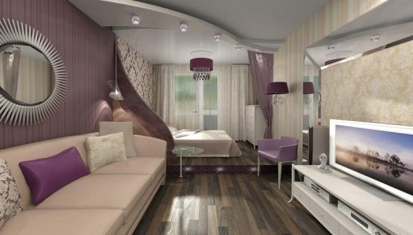 гостиная спальня дизайн 2016