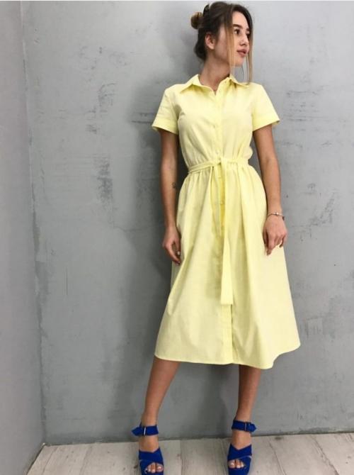 Желтое льняное платье от бренда One's LV
