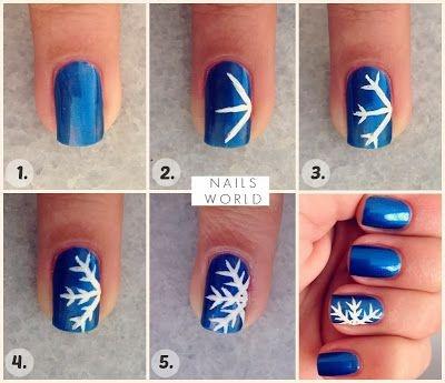 как нарисовать снежинку на ногтях