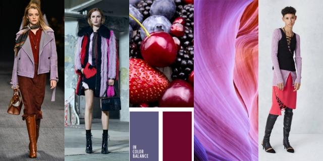 Сиренвый цвет в одежде 2016 сочетание сиреневого цвета с красным и розовым