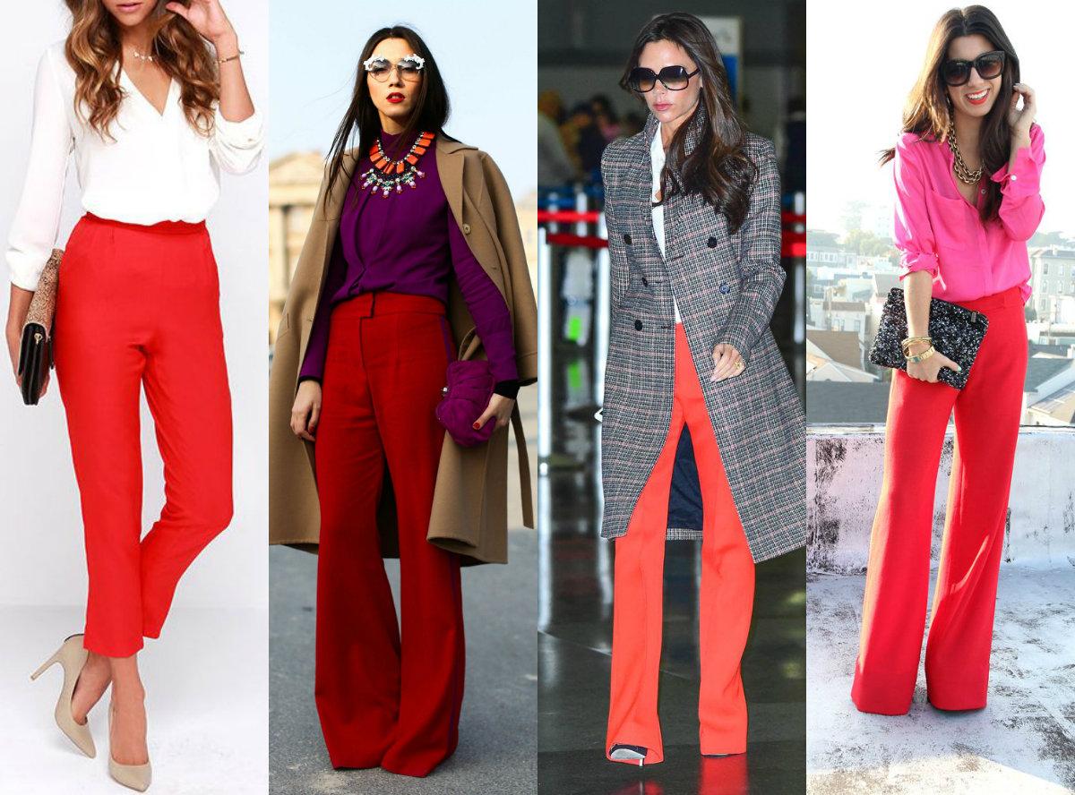 красные брюки фото