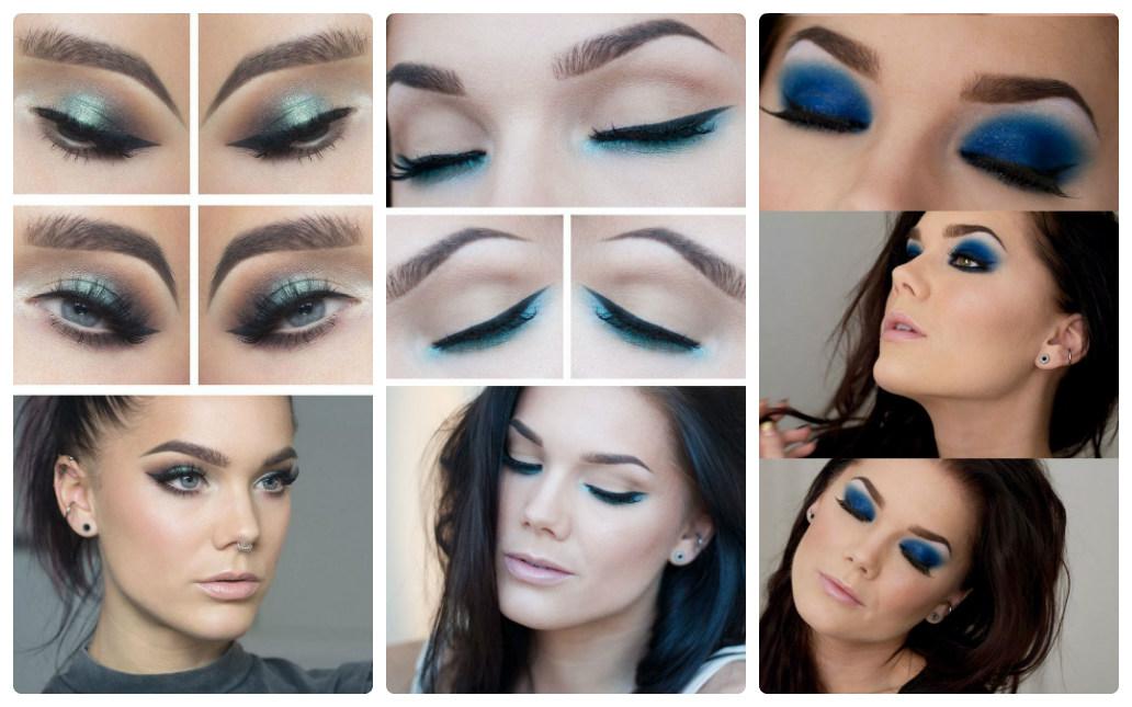 как сделать голубой макияж