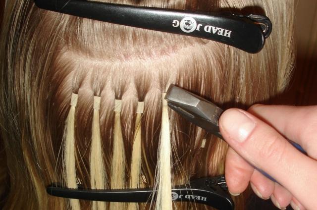 наращивание волос на кольцах