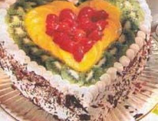 Торт ягодное сердечко