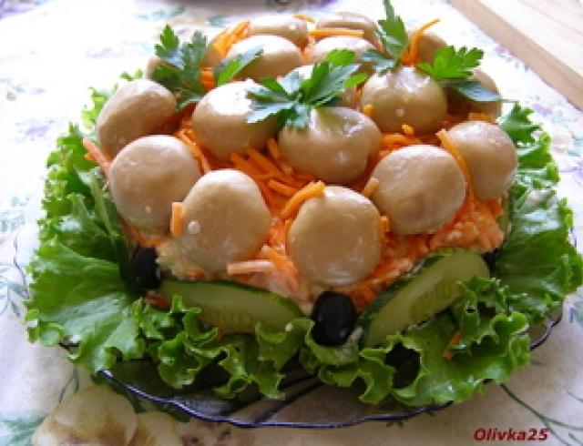 Грибной салат по-корейски