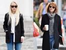 Черное пальто + винтажные джинсы: чей образ лучше