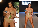 Модель Sports Illustrated, кормя ребенка грудью, приняла участие в показе купальников