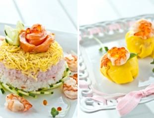 Праздничный суши-торт и темари суши