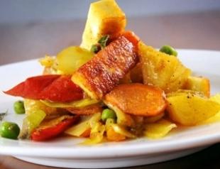 Постное рагу с соусом карри на обед