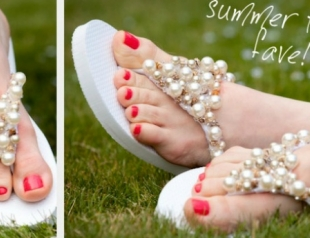 Как сделать свадебную обувь из сланцев? Мастер-класс