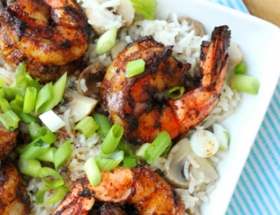 Фоторецепт: жареные креветки с рисом