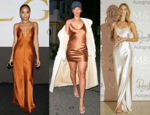 Бельевой тренд: как Риана, Кейт Мосс и другие звезды носят платье-комбинацию (30+ фото)