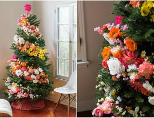 Новогодний тренд 2016 года: украшаем елку цветами