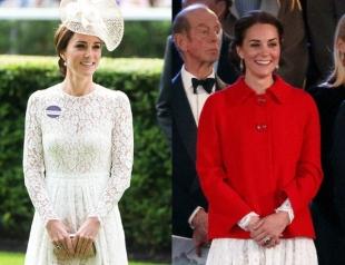 Королевский дебют в старом платье: Кейт Миддлтон появилась на скачках в том же платье, что и месяц назад