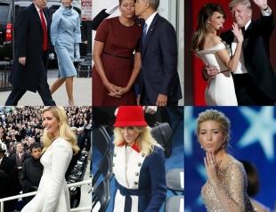 Президентская красная дорожка: Меланья  Трамп, Иванка Трамп, Мишель Обама, Хиллари Клинтон  и Келлиэнн Конуэй на инаугурации Трампа